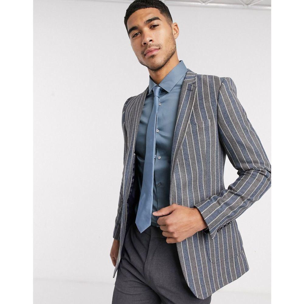 エイソス ASOS DESIGN メンズ スーツ・ジャケット アウター【super skinny blazer in navy and grey stripe】Navy