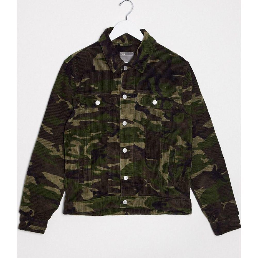 エイソス ASOS DESIGN メンズ ジャケット アウター【cord western jacket in camo print】Green