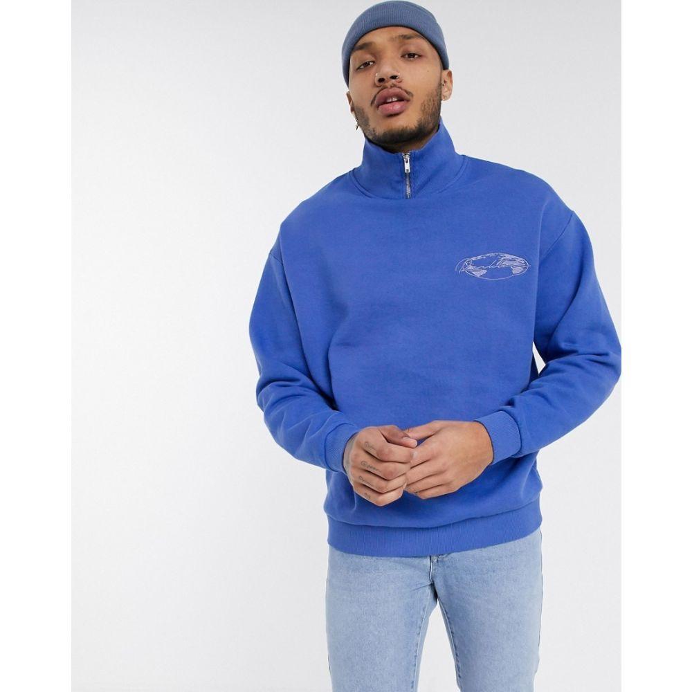 エイソス ASOS DESIGN メンズ スウェット・トレーナー トップス【oversized sweatshirt with high neck】Persian jewel