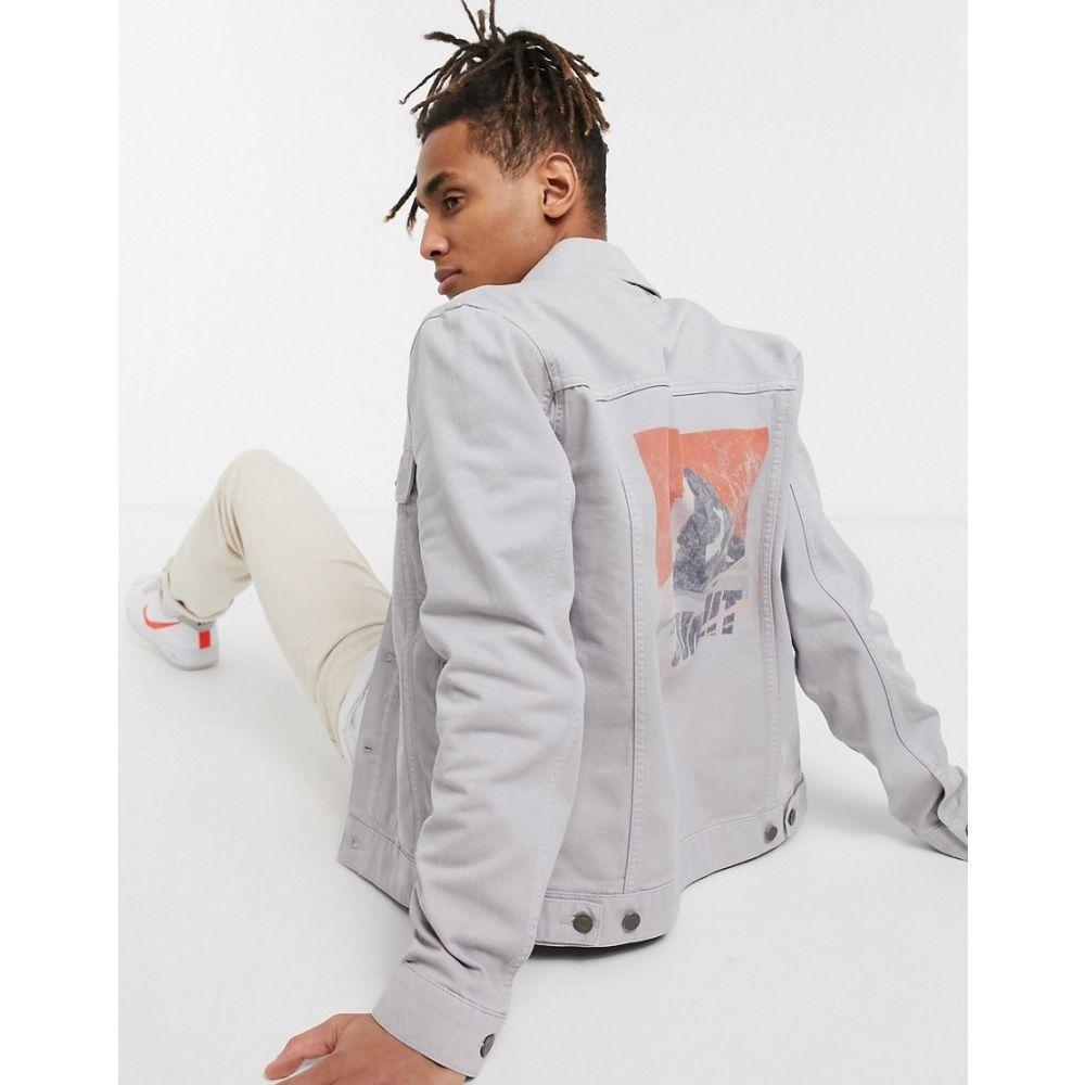 エイソス ASOS DESIGN メンズ ジャケット Gジャン アウター【denim jacket in grey with back print】Grey