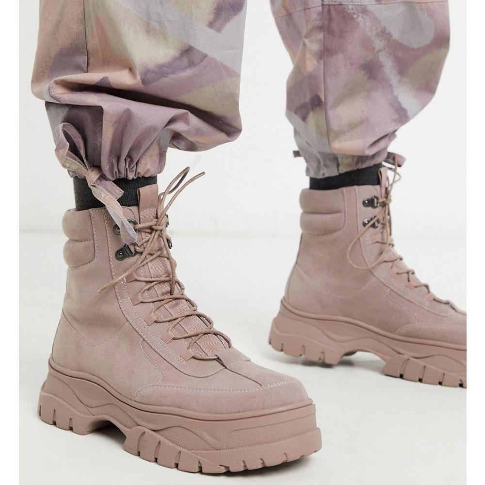 エイソス ASOS DESIGN メンズ ブーツ レースアップブーツ シューズ・靴【lace up boot in pink faux nubuck with chunky sole】Pink