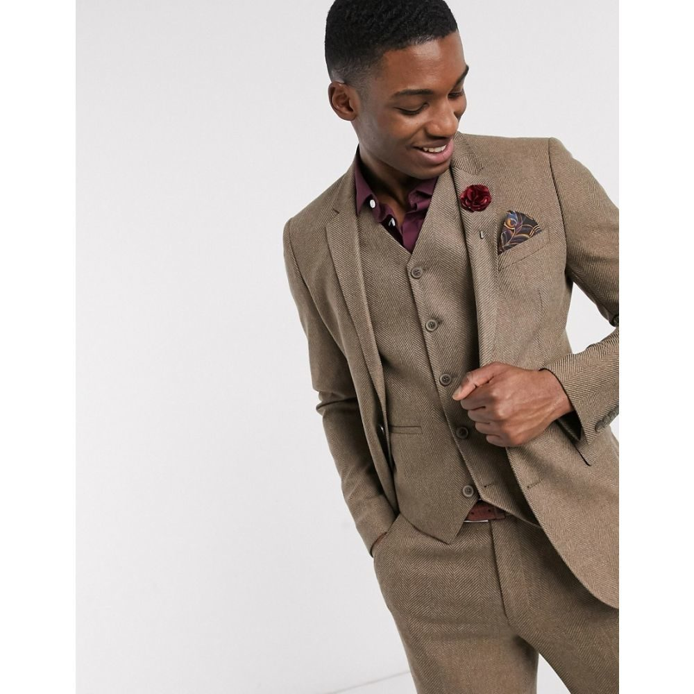 エイソス ASOS DESIGN メンズ スーツ・ジャケット アウター【wedding super skinny wool mix suit jacket in camel herringbone】Camel