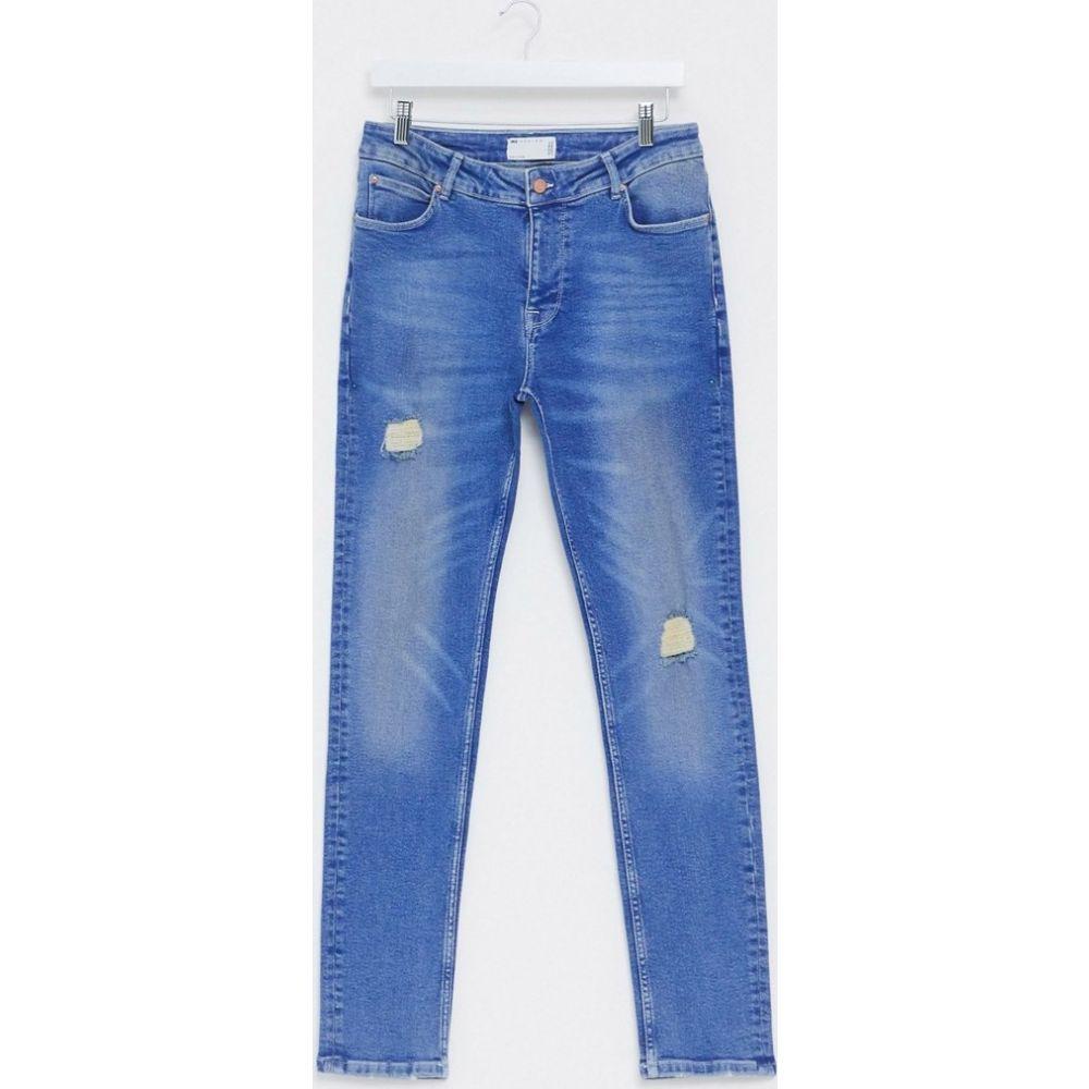 エイソス ASOS DESIGN メンズ ジーンズ・デニム ボトムス・パンツ【skinny jeans in bright blue with abrasions】Mid wash blue