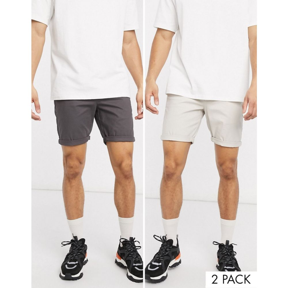 エイソス ASOS DESIGN メンズ ショートパンツ 2点セット ボトムス・パンツ【2 pack slim chino shorts in beige & washed black save】Rainy day/washed bl