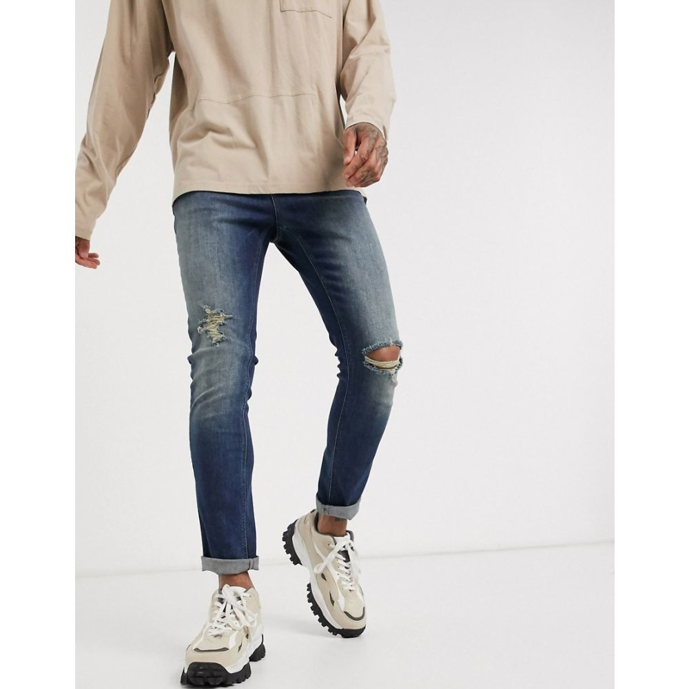 エイソス ASOS DESIGN メンズ ジーンズ・デニム ボトムス・パンツ【skinny jeans in tinted dark wash with knee rips】Mid wash blue
