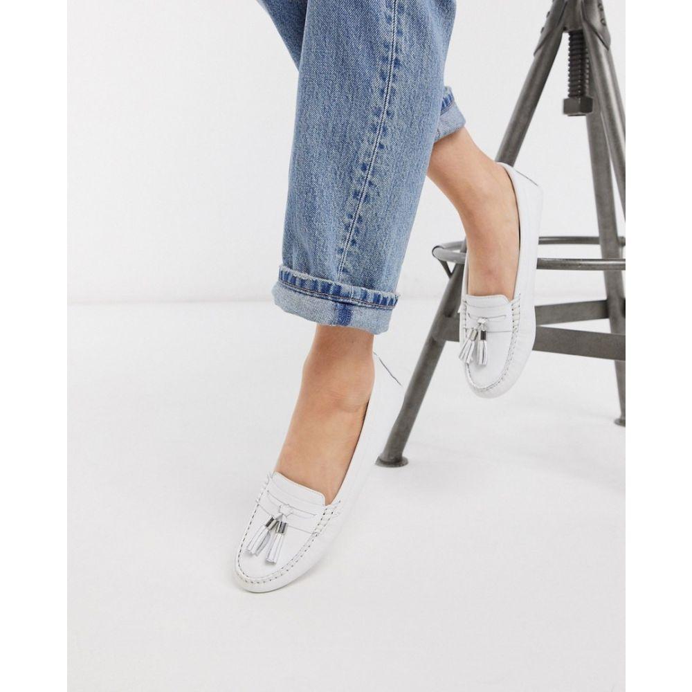 デューン Dune レディース ローファー・オックスフォード シューズ・靴【gaze leather tassel loafer flat shoes in white】White