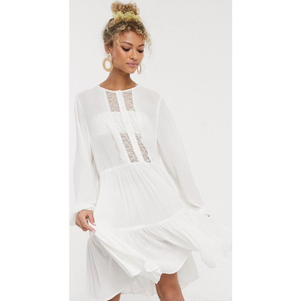ピーシーズ Pieces レディース ワンピース ミニ丈 ワンピース・ドレス【mini dress with lace detail in white】Bright white