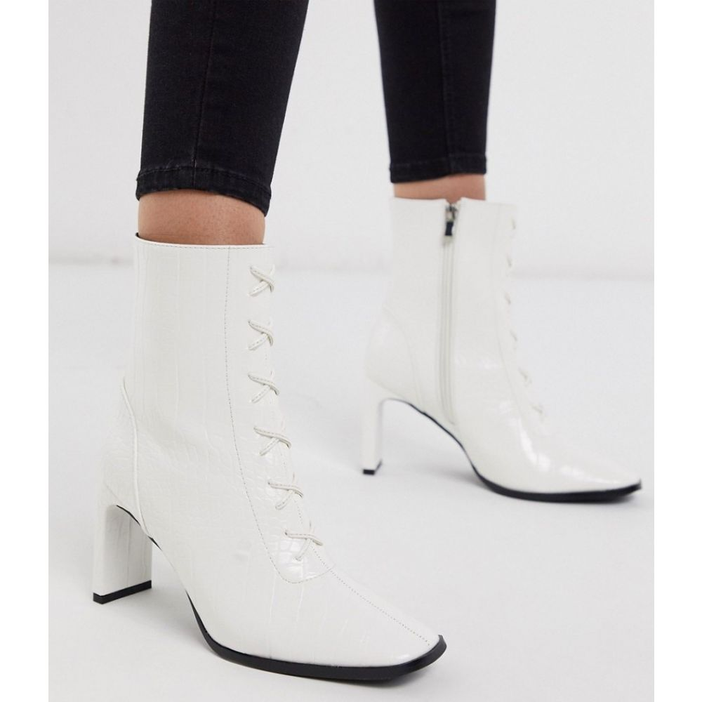 Z_Code_Z レディース ブーツ ショートブーツ レースアップブーツ シューズ・靴【Taja lace up heeled ankle boot in white croc】White