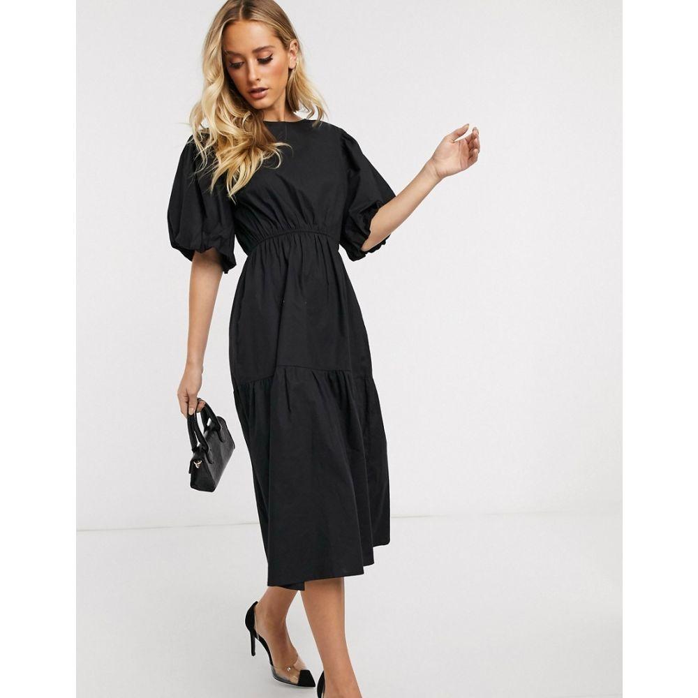 プリティリトルシング PrettyLittleThing レディース ワンピース ワンピース・ドレス【puff sleeve smock dress in black】Black