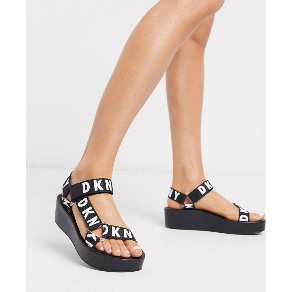 ダナ キャラン ニューヨーク DKNY レディース サンダル・ミュール シューズ・靴【Ayli logo strap platform sandals in black】Black