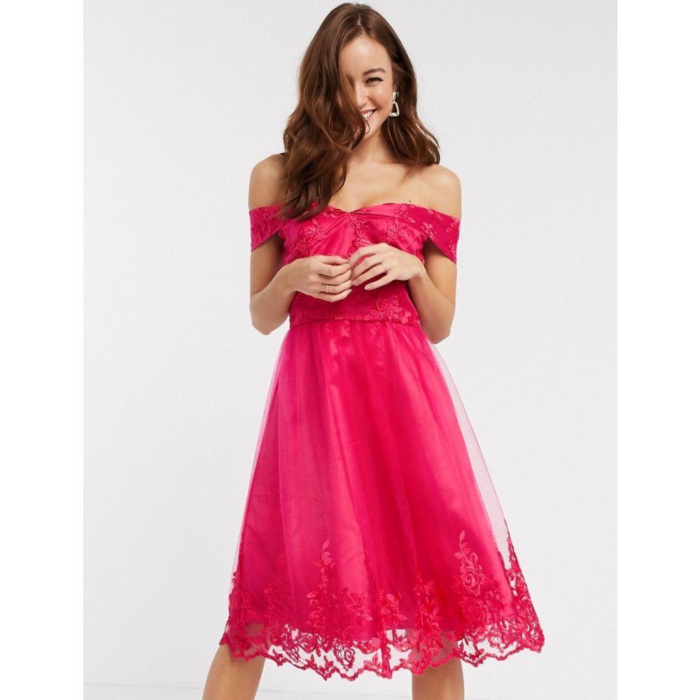 チチロンドン Chi Chi London レディース ワンピース ワンピース・ドレス【Chi Chi Ryan lace detail prom dress in fuschia】Fuschia