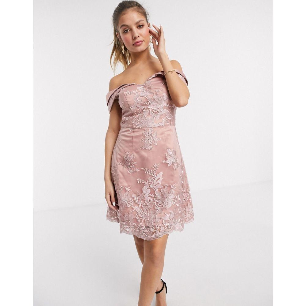 チチロンドン Chi Chi London レディース ワンピース ミニ丈 ワンピース・ドレス【Chi Chi Jameela embroided a line mini dress in rosegold】Rose gold