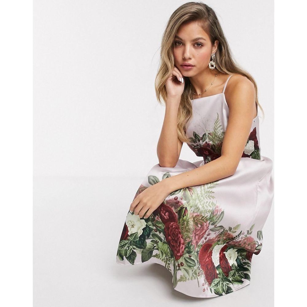 チチロンドン Chi Chi London レディース ワンピース ミドル丈 ワンピース・ドレス【Chi Chi Tanzine midi prom dress in satin with floral placement in mink】Mink