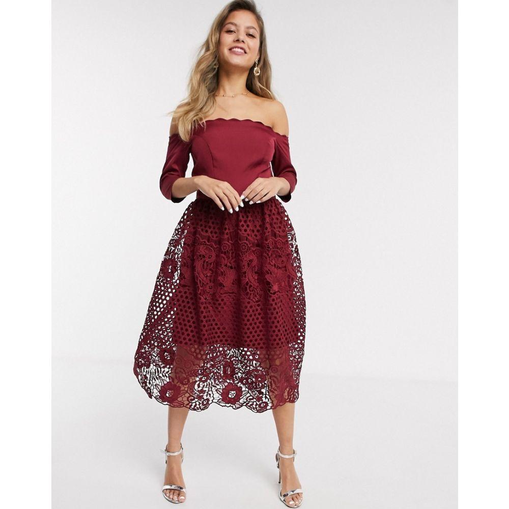 チチロンドン Chi Chi London レディース ワンピース ワンピース・ドレス【Chi Chi Shannan bardot lace prom dress in burgundy】Burgundy