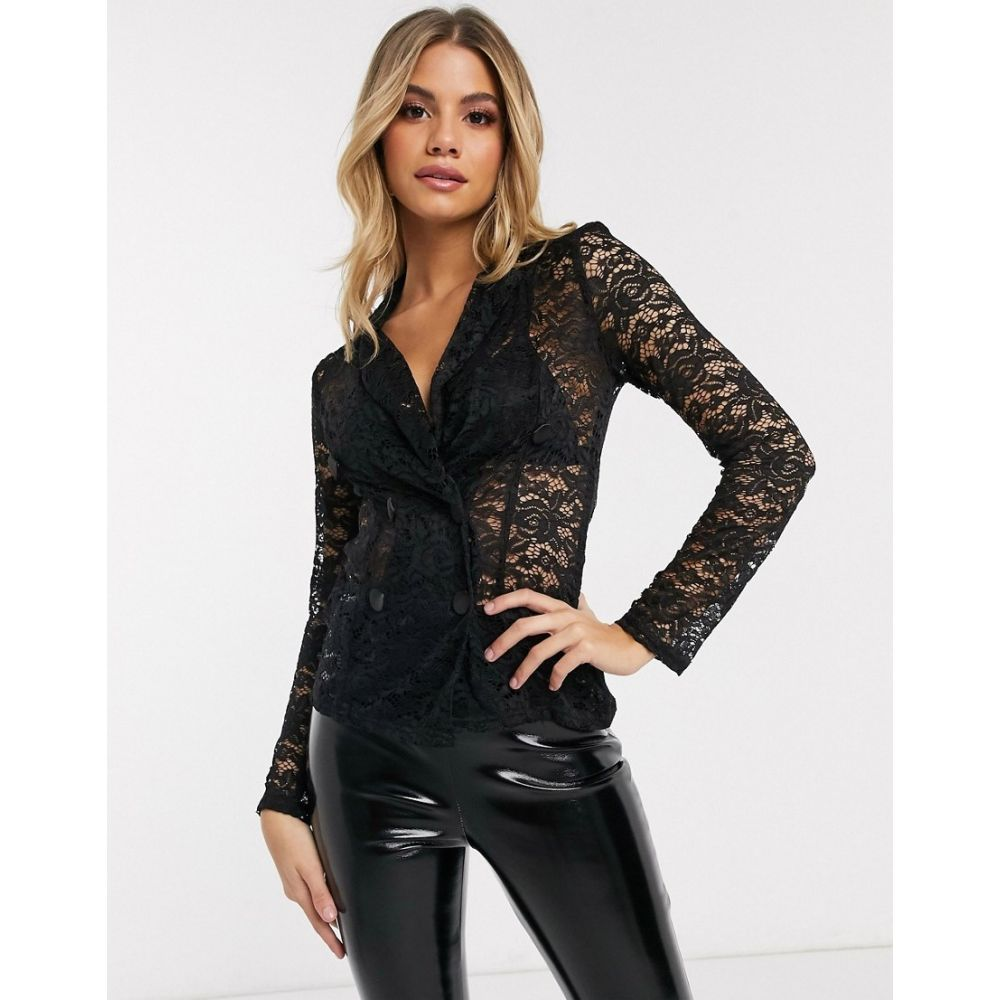 クラブエル ロンドン Club L London レディース スーツ・ジャケット アウター【Club L double breasted blazer with lace in black】Black
