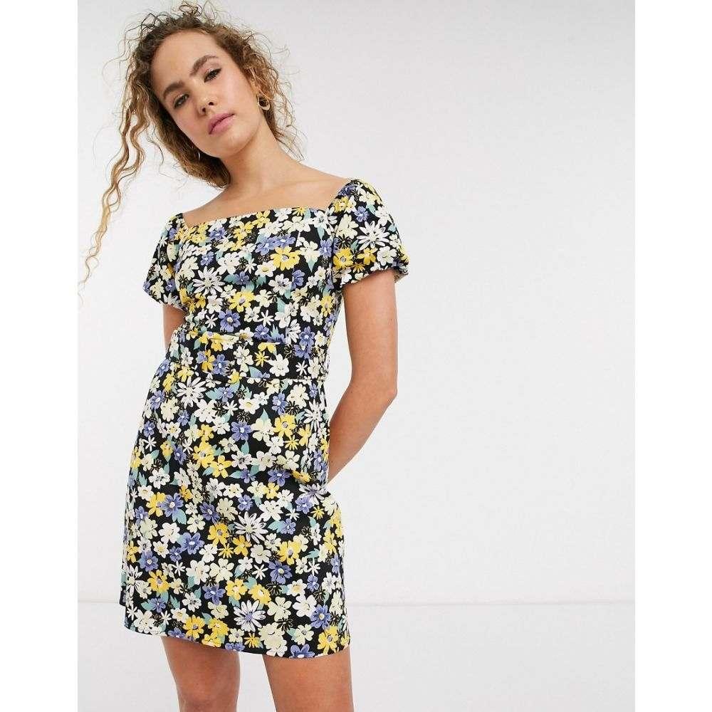 ウェアハウス Warehouse レディース ワンピース ワンピース・ドレス【floral print cotton bardot mini dress in black】Multi