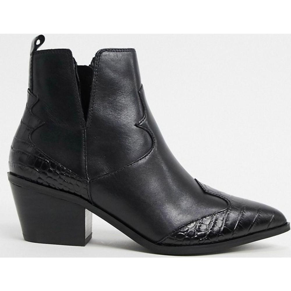 アルド ALDO レディース ブーツ ショートブーツ ウエスタンブーツ シューズ・靴【Mersey leather mix western ankle boot in black】Black