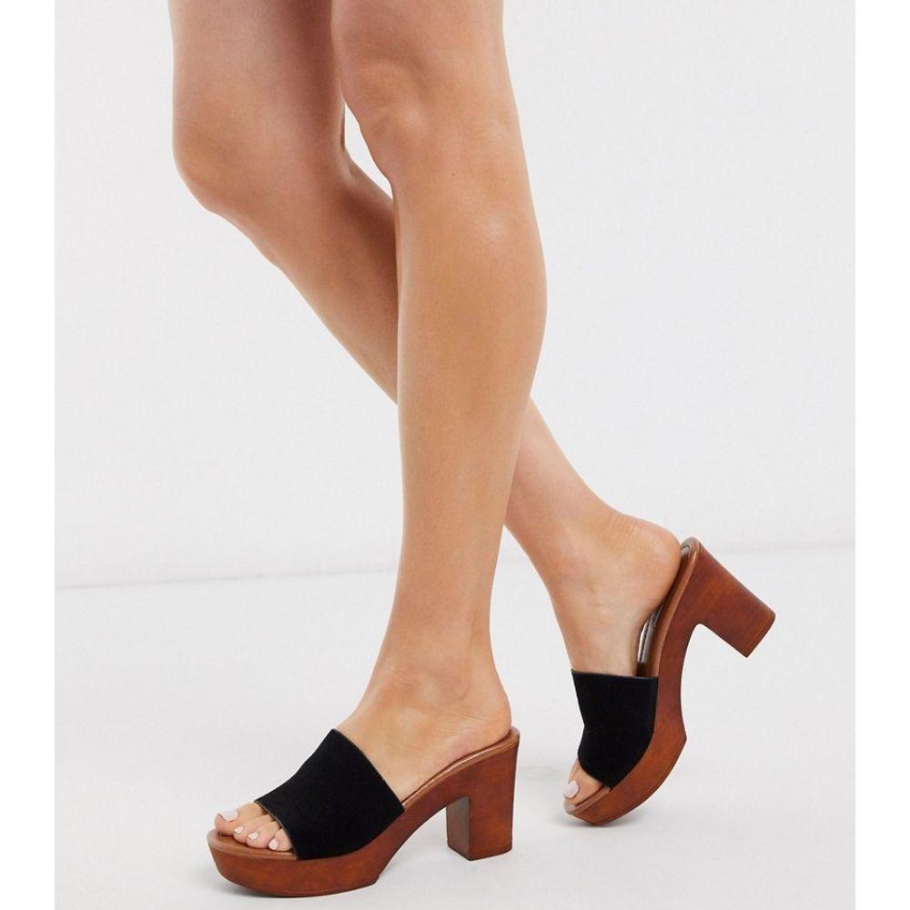 スティーブ マデン Steve Madden レディース サンダル・ミュール シューズ・靴【leather block heel mule heeled sandals in black】Black suede