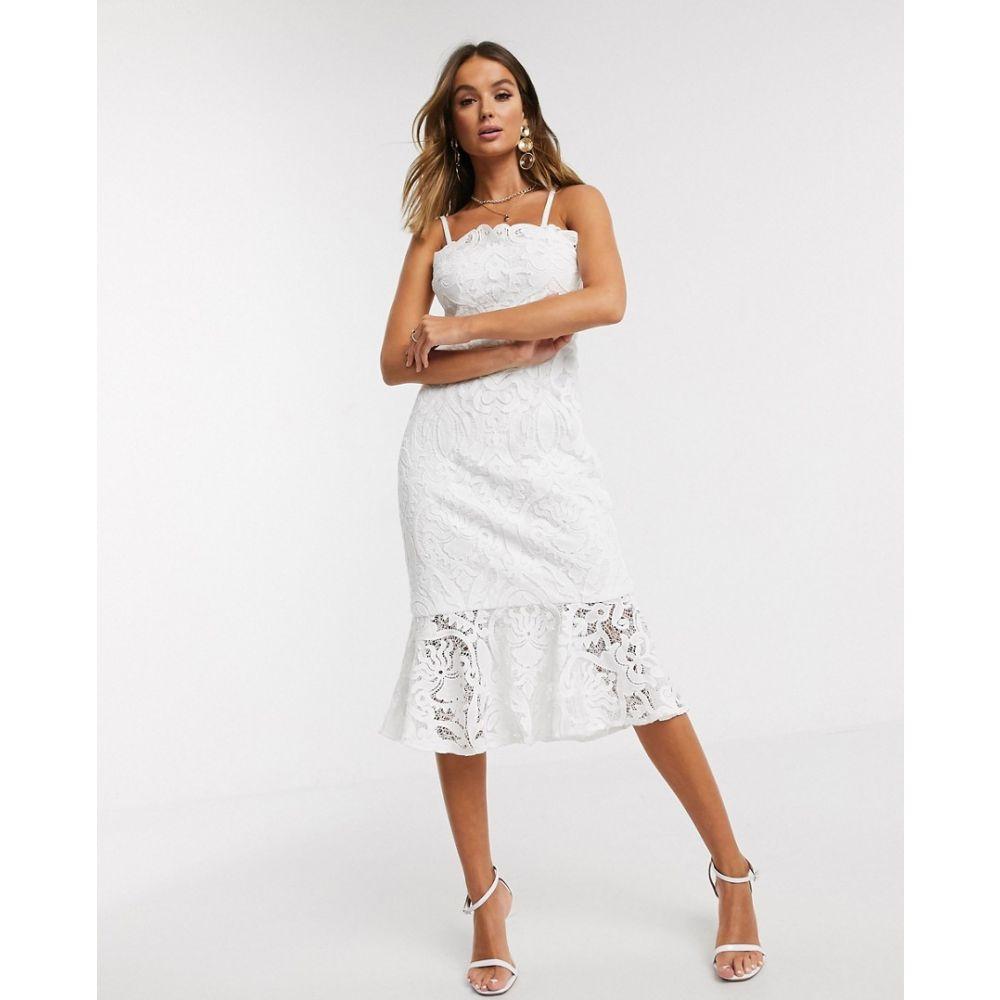 チチロンドン Chi Chi London レディース ワンピース ペンシル ワンピース・ドレス【lace pephem pencil dress in white】White