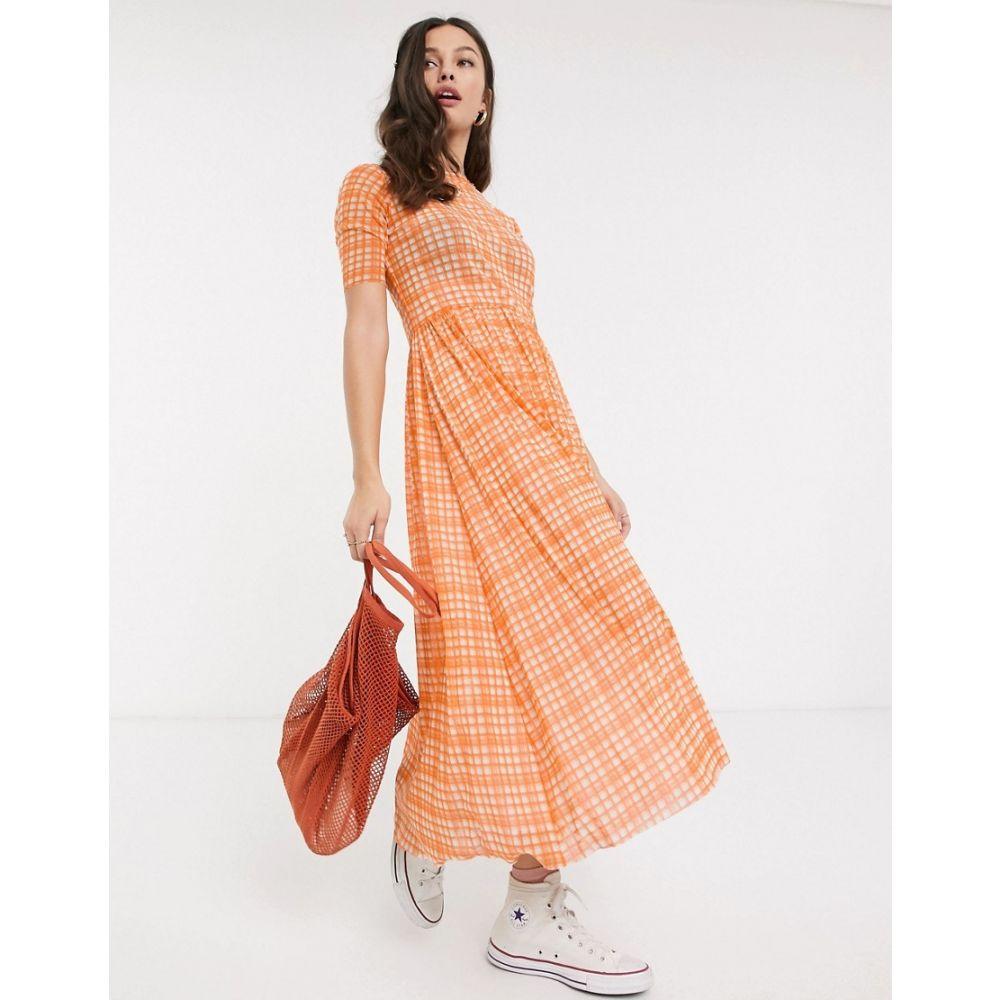 レズメ Resume レディース ワンピース マキシ丈 ワンピース・ドレス【taika mesh check maxi dress in neon orange】Neon orange