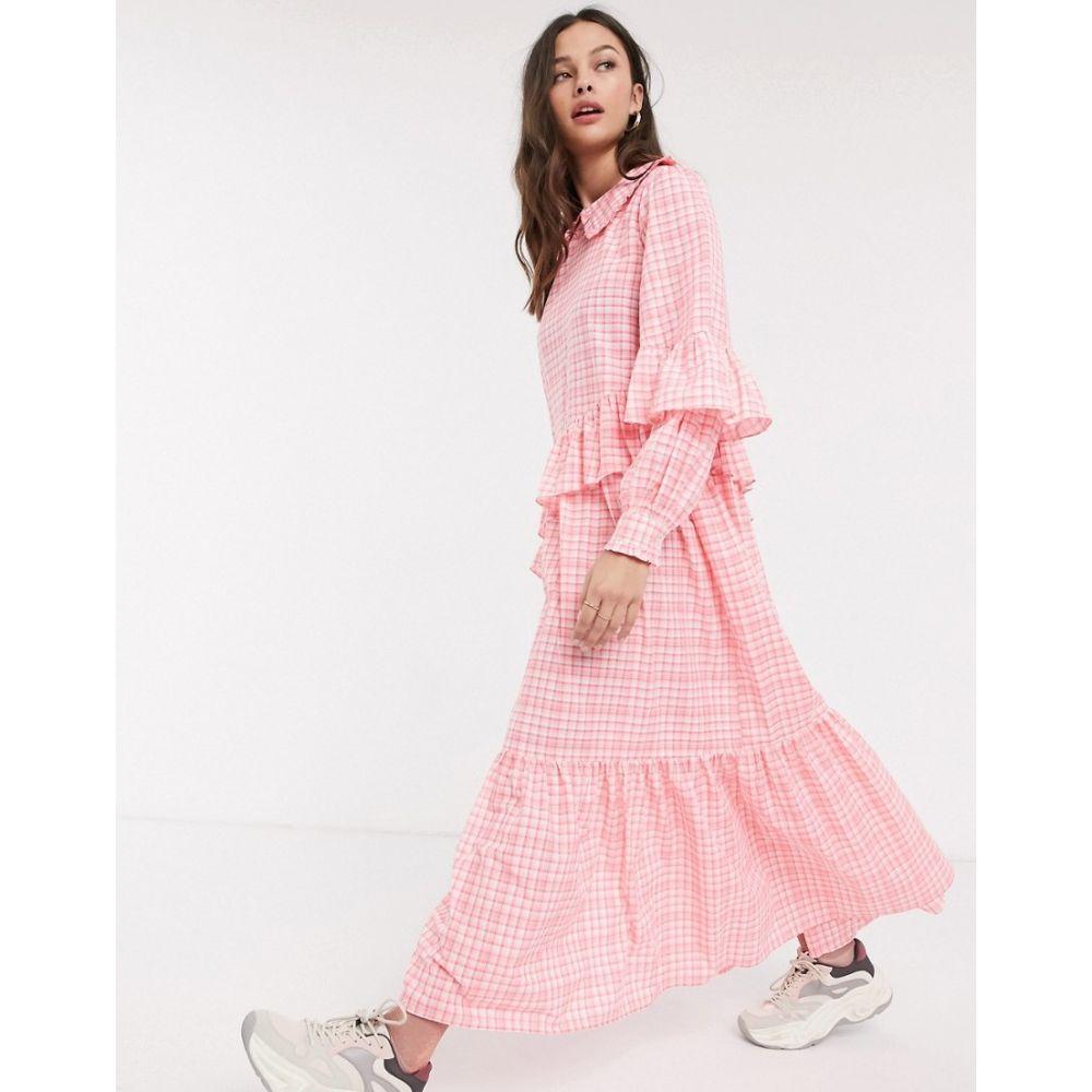 レズメ Resume レディース ワンピース マキシ丈 ワンピース・ドレス【teagan check frill detail maxi dress in neon pink】Neon pink
