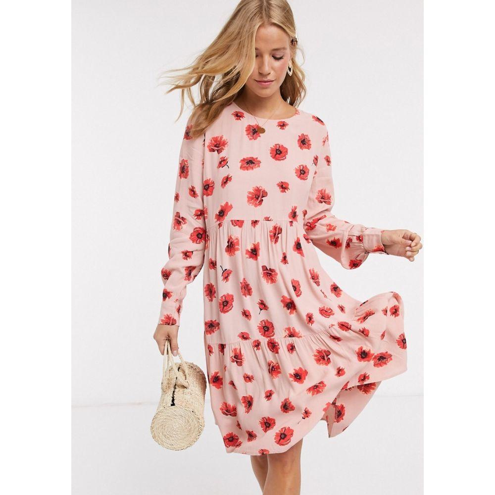 ピーシーズ Pieces レディース ワンピース ティアードドレス ワンピース・ドレス【tiered smock dress in pink and red floral】Misty rose fl