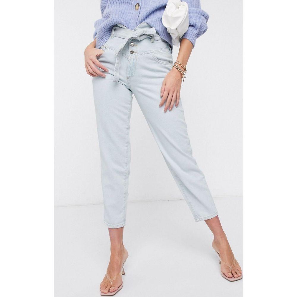 リバーアイランド River Island レディース ジーンズ・デニム ボトムス・パンツ【high rise tapered belted jeans with western seam in light blue】Light wash