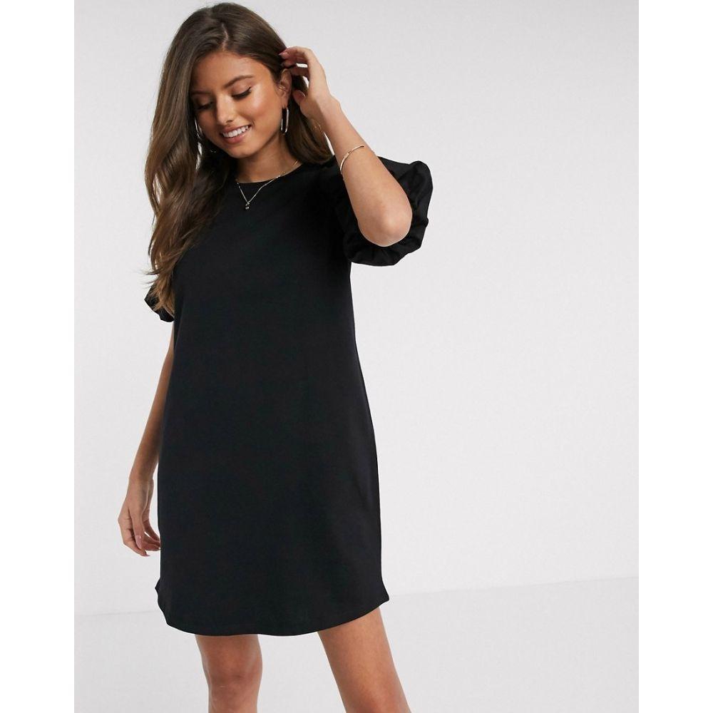 リバーアイランド River Island レディース ワンピース ワンピース・ドレス【long sleeve poplin puff sleeve dress in black】Black