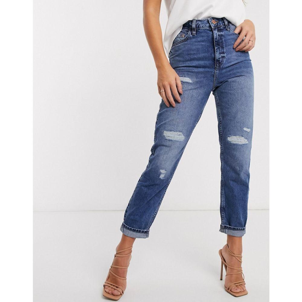 リバーアイランド River Island レディース ジーンズ・デニム リップドジーンズ ボトムス・パンツ【Carrie ripped high rise mom jeans in mid auth blue】Mid auth