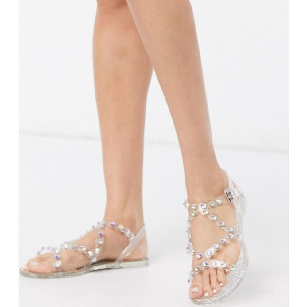 リバーアイランド River Island レディース サンダル・ミュール シューズ・靴【embellished strappy jelly sandals in clear】Clear