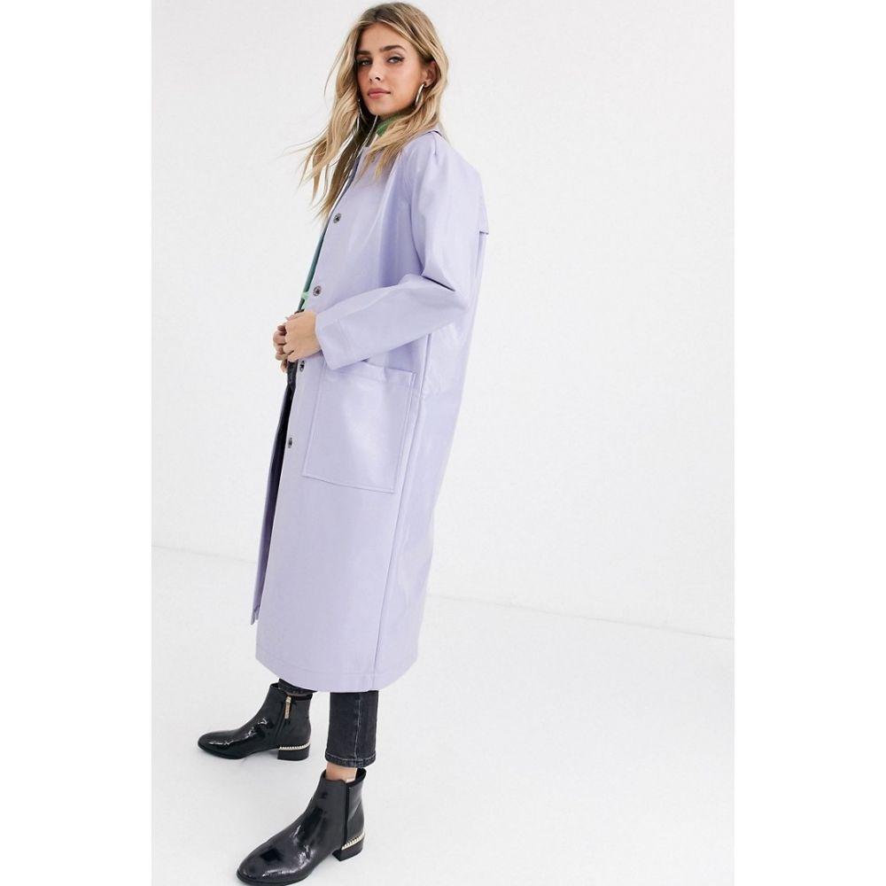 エイソス ASOS DESIGN レディース トレンチコート アウター【patent trench coat in lilac】Lilac