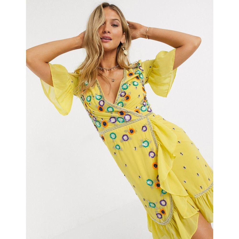 フロックアンドフリル Frock and Frill レディース ワンピース ミニ丈 ワンピース・ドレス【Frock & Frill embroidered ruffle mini dress in yellow】Popcorn yellow