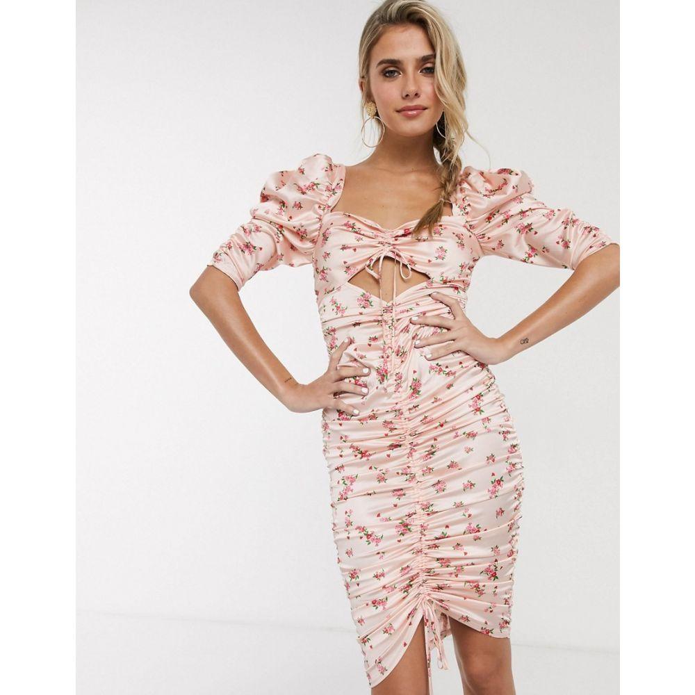 フォーラブアンドレモン For Love And Lemons レディース ワンピース ミドル丈 ワンピース・ドレス【For Love & Lemons Aster floral midi dress in peach floral】Peach floral