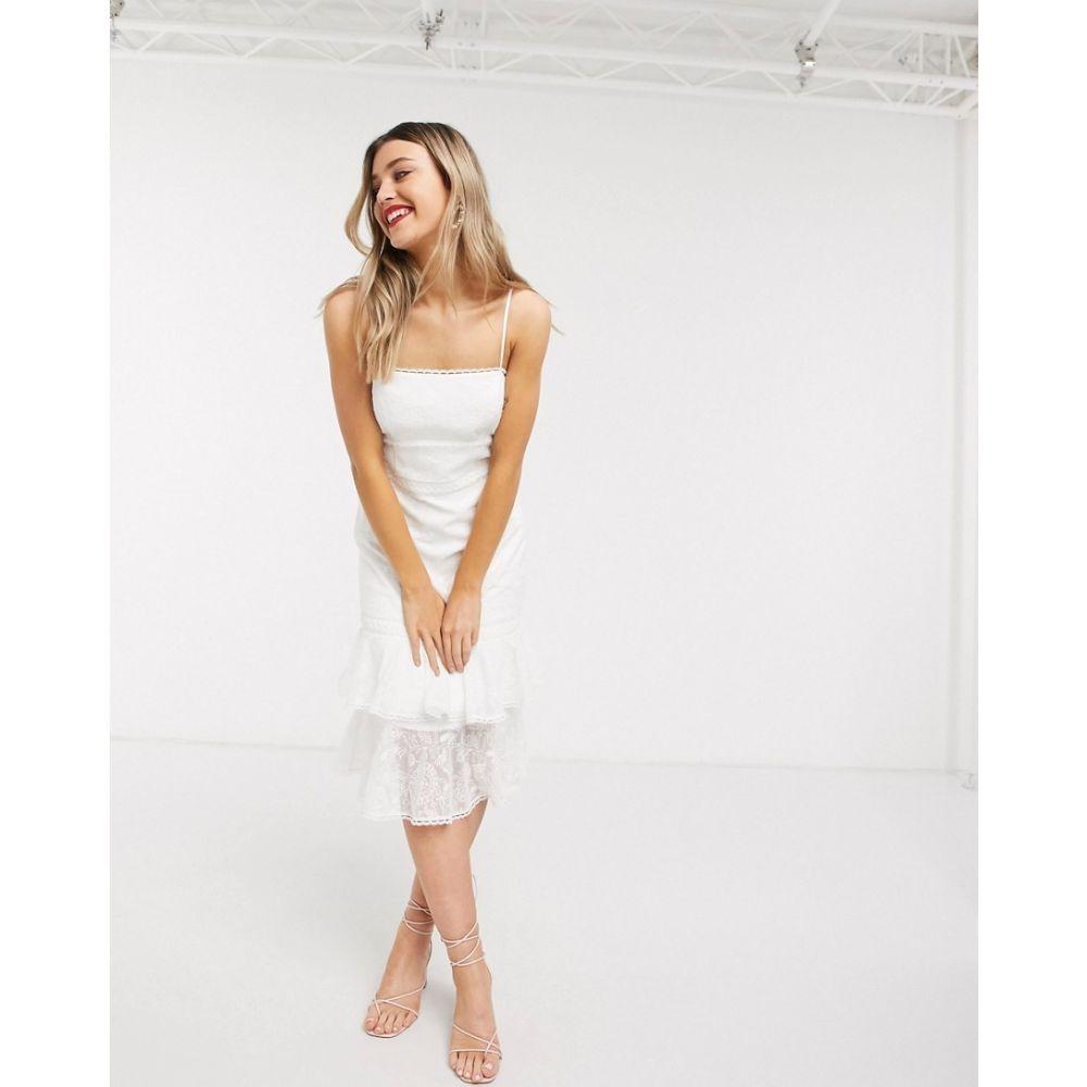 フォーエバーニュー Forever New レディース ワンピース ティアードドレス ワンピース・ドレス【lace midi dress with tiered hem in white】White