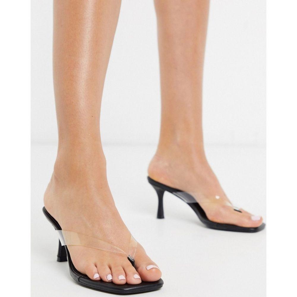 トリュフコレクション Truffle Collection レディース ビーチサンダル シューズ・靴【flip flop mid-heels in clear and black】Black/clear