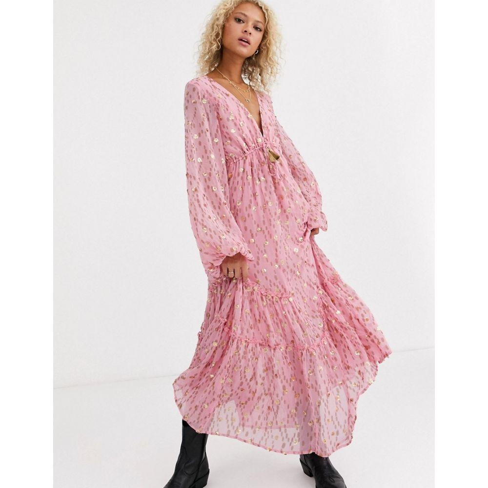 フリーピープル Free People レディース ワンピース マキシ丈 ワンピース・ドレス【Celina printed maxi dress】Pink