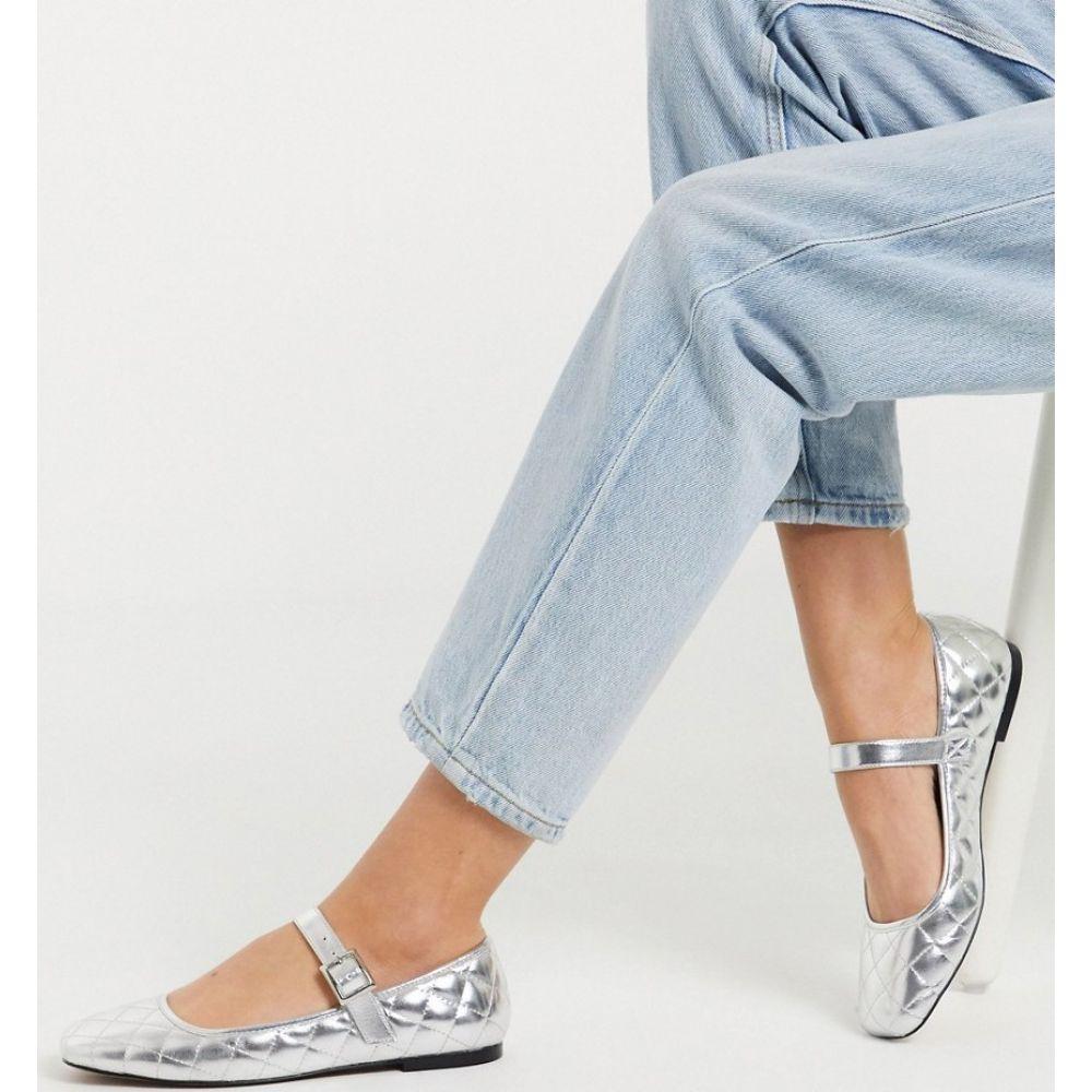 エイソス ASOS DESIGN レディース スリッポン・フラット シューズ・靴【Learn quilted mary jane ballet flats in silver】Silver