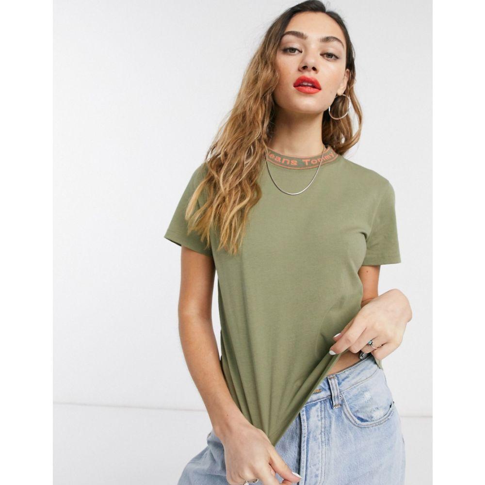 トミー ジーンズ Tommy Jeans レディース Tシャツ トップス【logo neck t-shirt in green】Olive tree