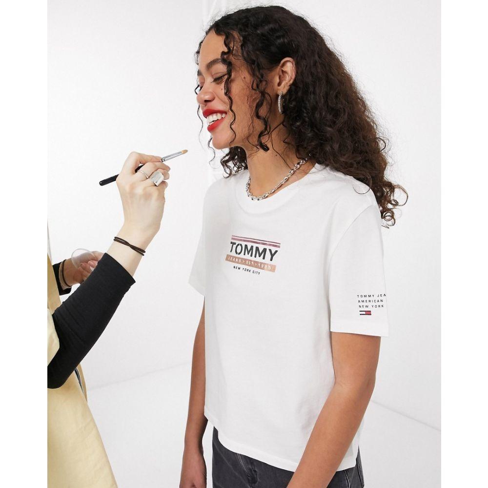 トミー ジーンズ Tommy Jeans レディース Tシャツ トップス【front logo t-shirt with sleeve detail in white】White