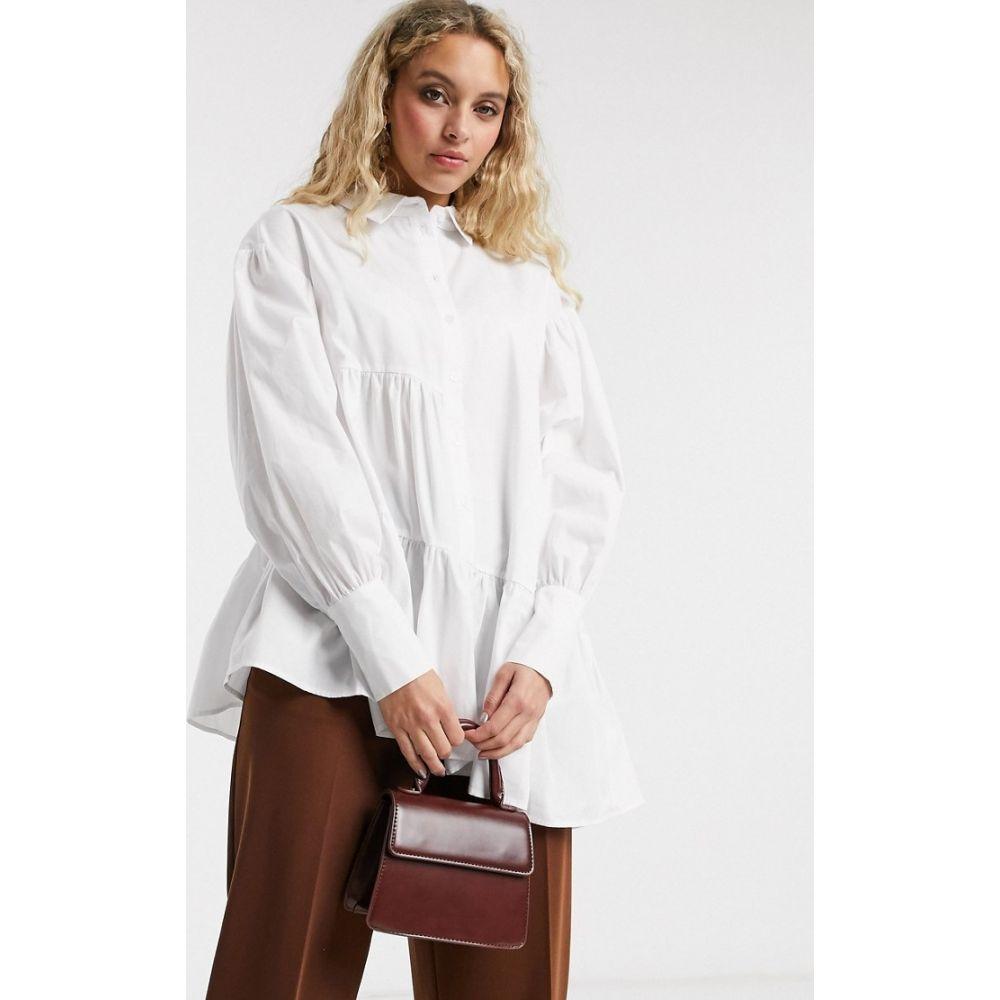 トップショップ Topshop レディース ブラウス・シャツ トップス【tiered poplin shirt in white】White