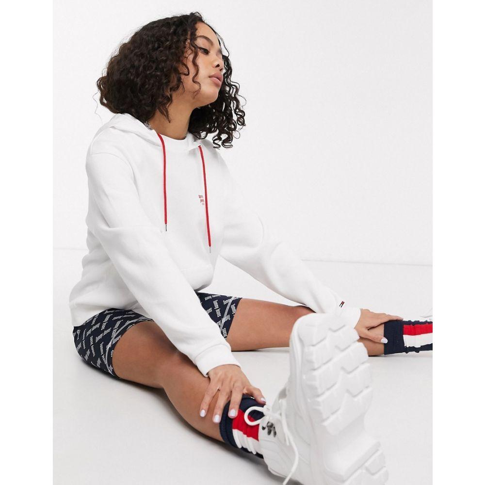 トミー ジーンズ Tommy Jeans レディース パーカー トップス【logo hoodie in white】White