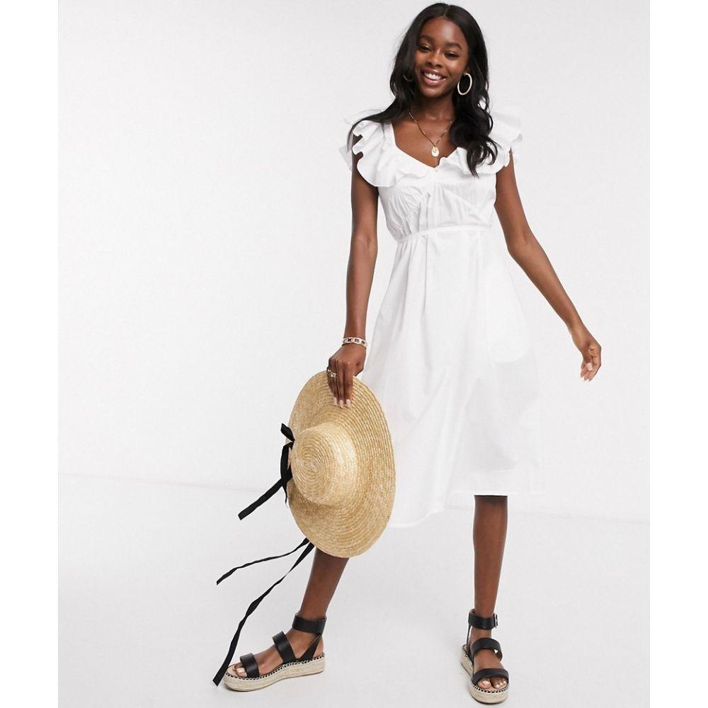 フレンチコネクション French Connection レディース ワンピース ミドル丈 ワンピース・ドレス【ruffle midi dress in linen white】Linen white