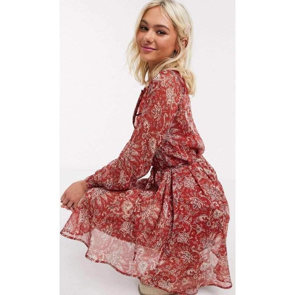 フレンチコネクション French Connection レディース ワンピース ワンピース・ドレス【paisley printed mini dress in red】Red ochre multi