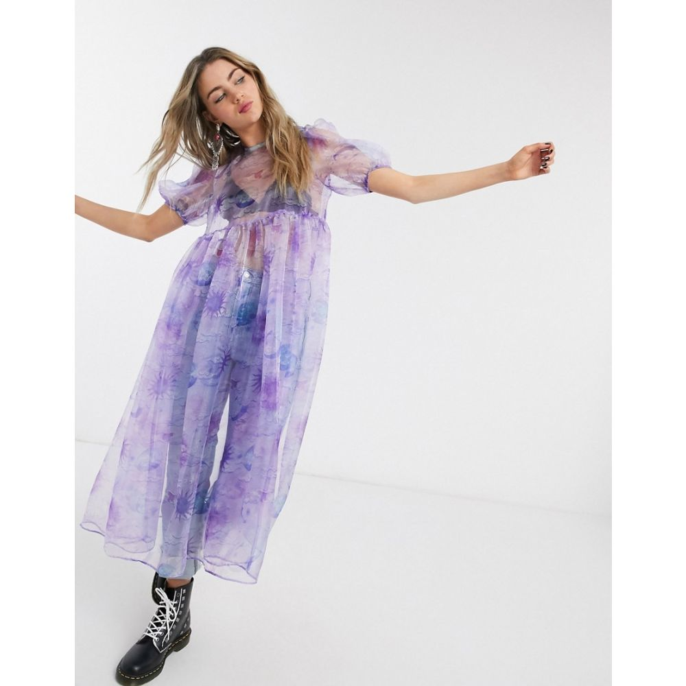 ハウスオブスターズ House of Stars レディース ワンピース ワンピース・ドレス【House Of Stars oversized smock dress with bow tie back in sheer celestial organza】Misty lilac