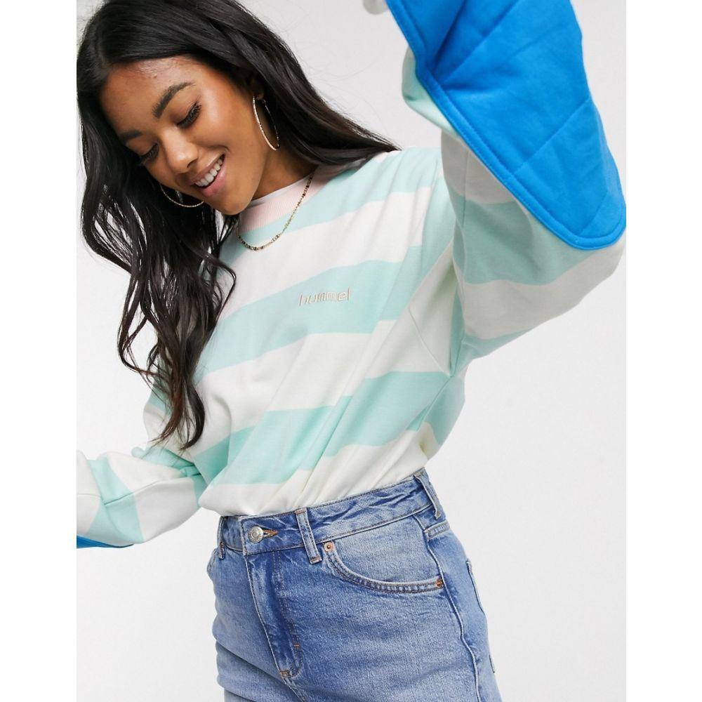 ヒュンメル Hummel レディース スウェット・トレーナー トップス【Hive pastel striped sweatshirt in mint green】Green