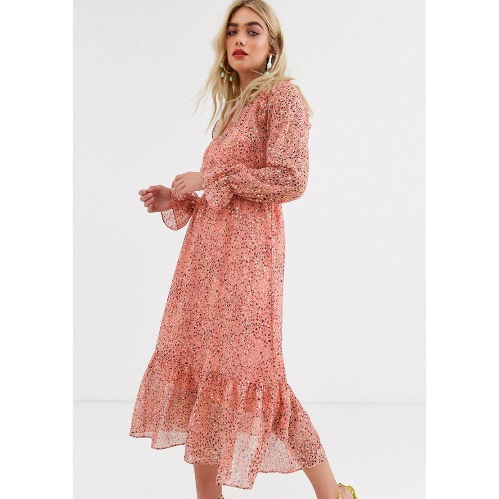 ワイ エー エス Y.A.S レディース ワンピース ミドル丈 ワンピース・ドレス【animal print midi dress】Pink foil