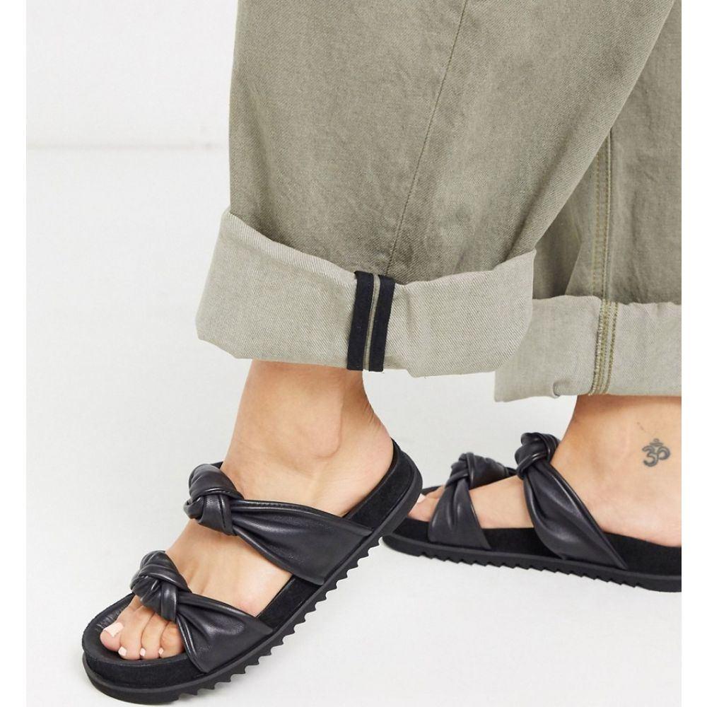 ホイッスルズ Whistles レディース サンダル・ミュール シューズ・靴【soft knotted leather sliders in black】Black