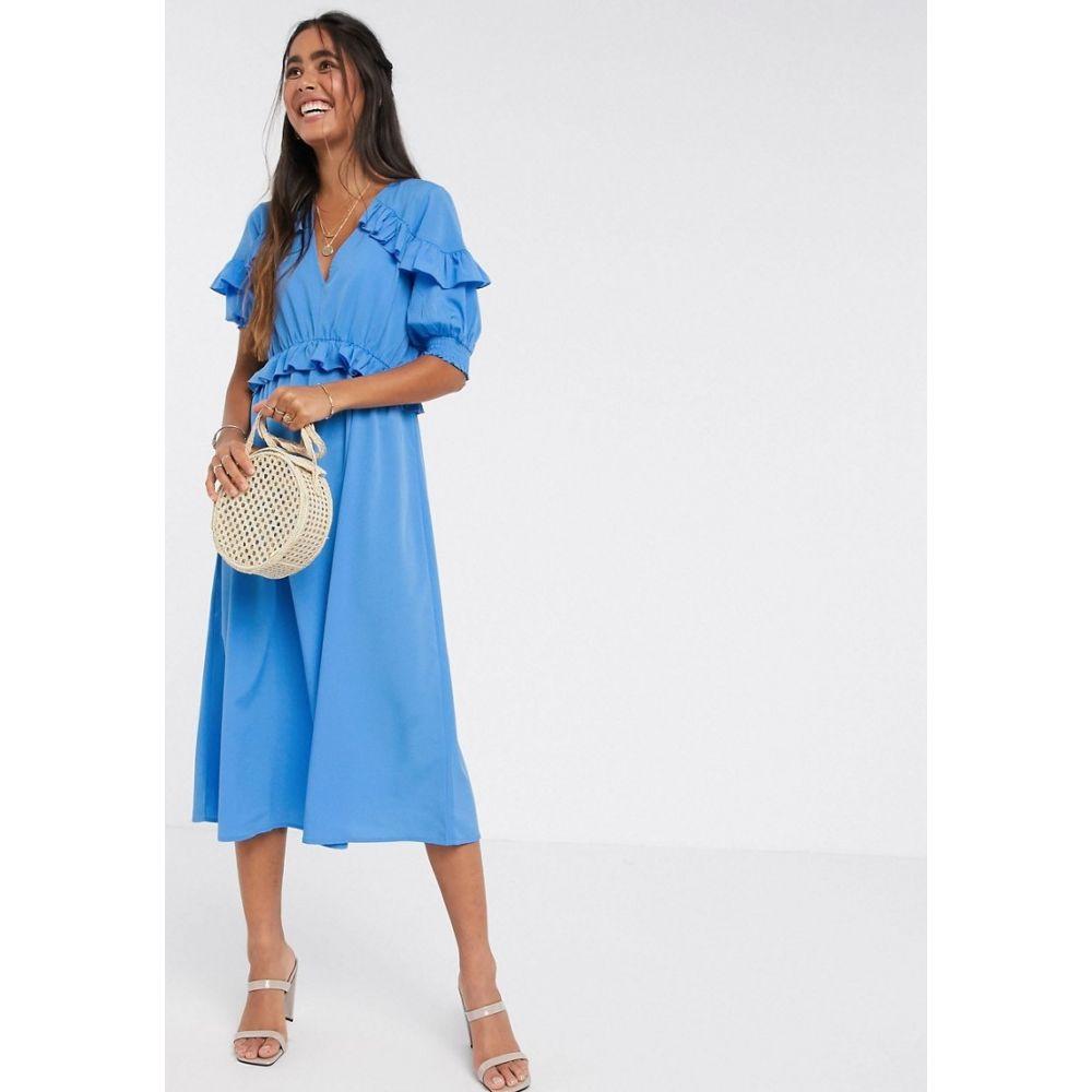 ワイ エー エス Y.A.S レディース ワンピース ミドル丈 ワンピース・ドレス【midi dress with ruffle detail in blue】Marina