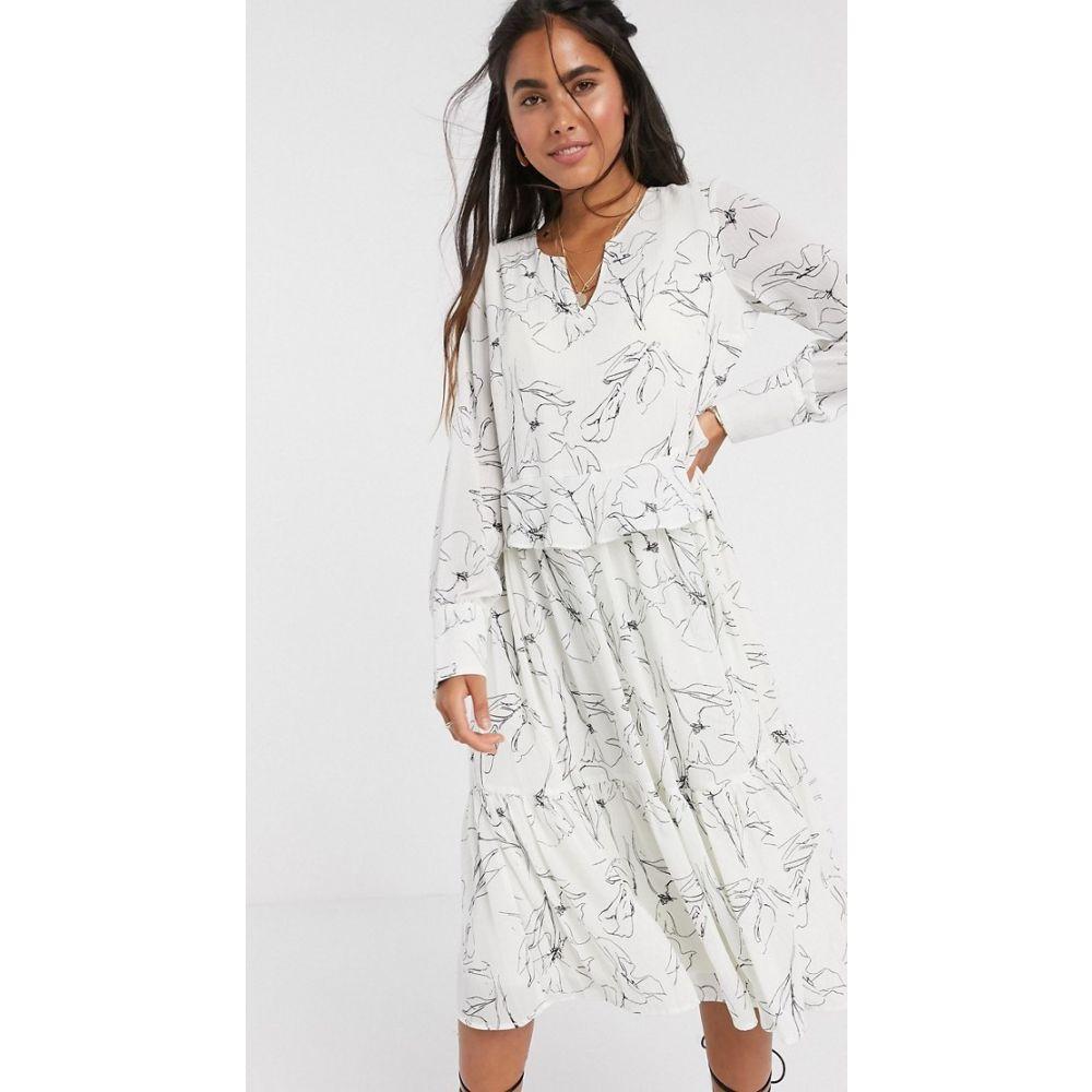 ワイ エー エス Y.A.S レディース ワンピース ミドル丈 ワンピース・ドレス【midi smock dress in white with abstract print】White aop