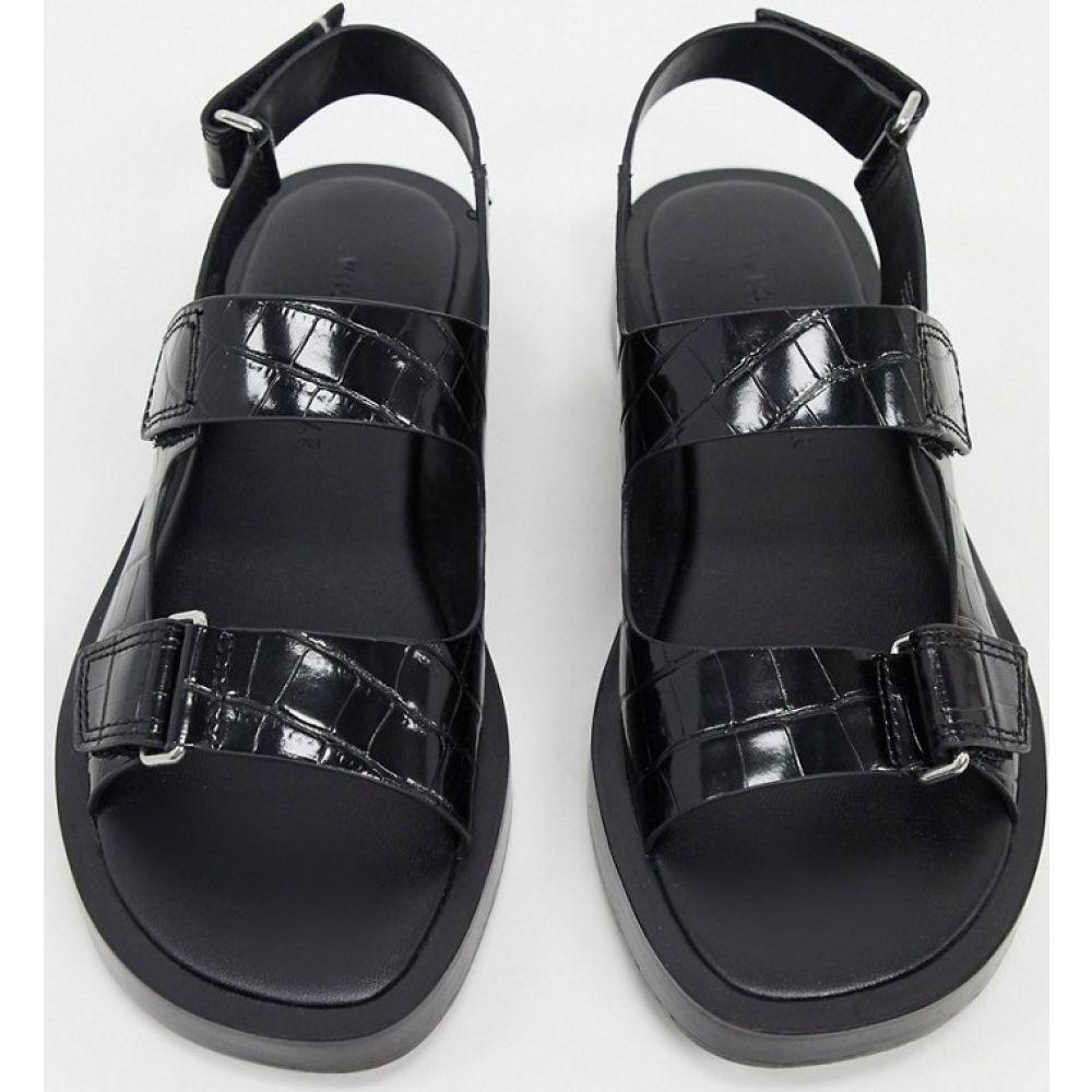 フー ワット ウェアー Who What Wear レディース サンダル・ミュール シューズ・靴【Axel flatform sandals in black croc】Black croco